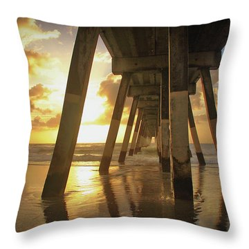 Under Johnny Mercer Pier At Sunrise Throw Pillow