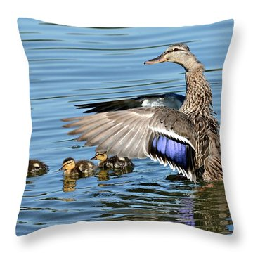 Under My Wings Throw Pillow by Fraida Gutovich