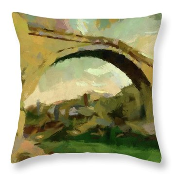 Under Old Bridge Throw Pillow