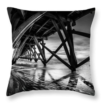 Under Sea Cabin Pier At Sunset Throw Pillow