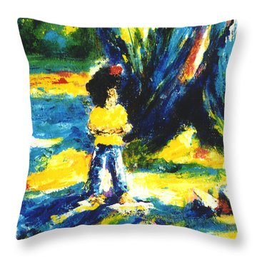 Under The Banyan Tree#201 Throw Pillow by Donald k Hall