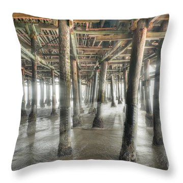 Throw Pillow featuring the photograph Under The Boardwalk Into The Light by David Zanzinger
