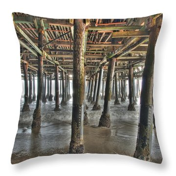 Throw Pillow featuring the photograph Under The Boardwalk Pier Sunbeams  by David Zanzinger