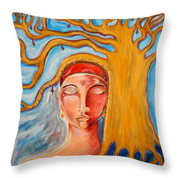 Under The Bodhi Tree Throw Pillow