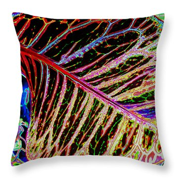 Throw Pillow featuring the photograph Under The Croton Leaf by Kate Word