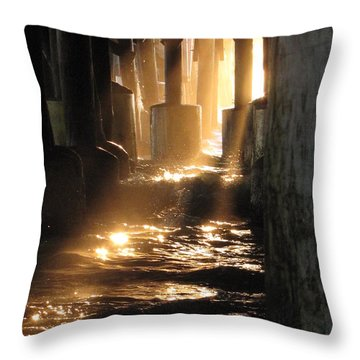 Under The Daytona Beach Pier 004  Throw Pillow
