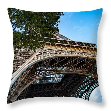 Throw Pillow featuring the photograph Under The Eiffel by Kim Wilson