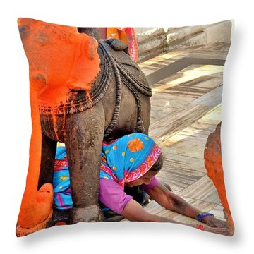 Under The Elephant - Narmada Temple At Arkantak India Throw Pillow