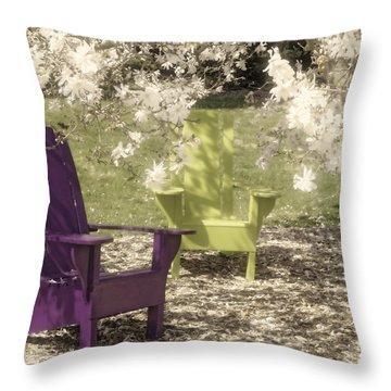 Under The Magnolia Tree Throw Pillow by Tom Mc Nemar