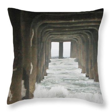 Under The  Pier  Throw Pillow by Gilbert Artiaga