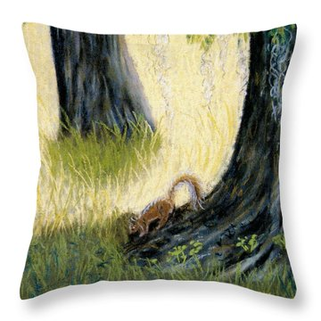Throw Pillow featuring the pastel Under The Mossy Oak by Jan Amiss
