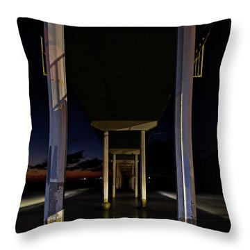 Throw Pillow featuring the photograph Under The Ocean Beach Pier At Sunste by James Sage