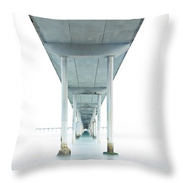 Throw Pillow featuring the photograph Under The Ocean Beach Pier Early Morning by James Sage