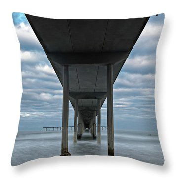 Throw Pillow featuring the photograph Under The Ocean Beach Pier San Diego Early Morning by James Sage