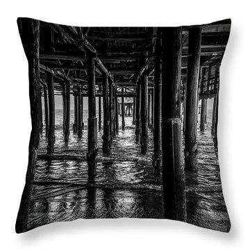Under The Pier - Black And White Throw Pillow