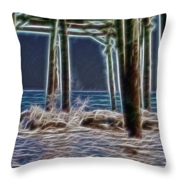 under the pier Electric Throw Pillow