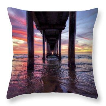Under The Pier Sunset Throw Pillow