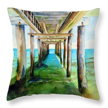 Under The Playa Paraiso Pier Throw Pillow