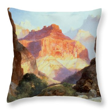 Under The Red Wall Throw Pillow by Thomas Moran