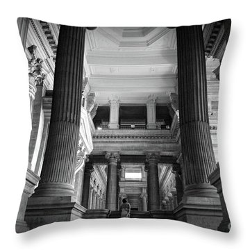 Throw Pillow featuring the photograph Under The Scaffolding Of The Palace Of Justice - Brussels by RicardMN Photography