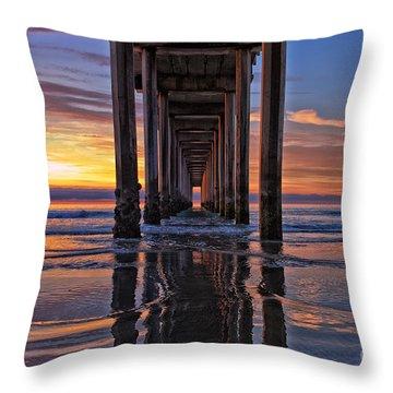 Under The Scripps Pier Throw Pillow