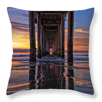 Under The Scripps Pier Throw Pillow
