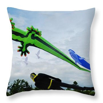 Under The Sea Kites Throw Pillow