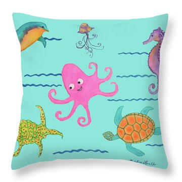 Under The Sea, Pink Octopus Throw Pillow
