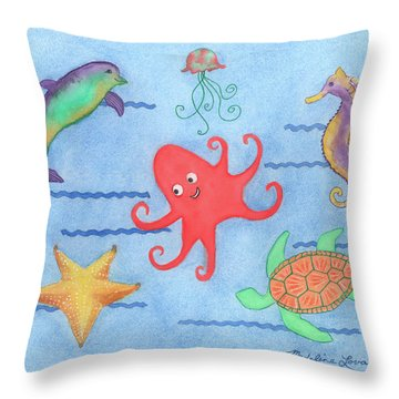 Under The Sea, Red Octopus Throw Pillow
