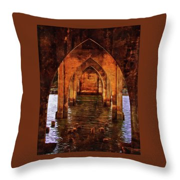 Throw Pillow featuring the photograph Under The Siuslaw River Bridge by Thom Zehrfeld