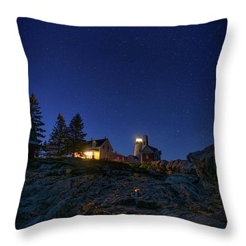 Under The Stars At Pemaquid Point Throw Pillow by Rick Berk
