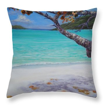 Under The Tree At Magen's Bay Throw Pillow