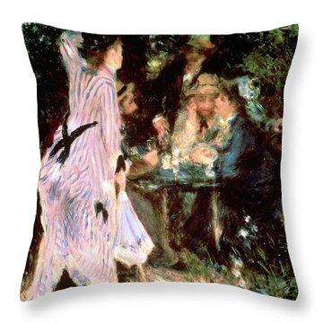 Under The Trees Of The Moulin De La Galette Throw Pillow by Pierre Auguste Renoir