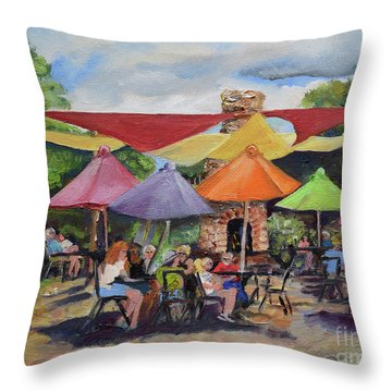 Throw Pillow featuring the painting Under The Umbrellas At The Cartecay Vineyard - Crush Festival  by Jan Dappen