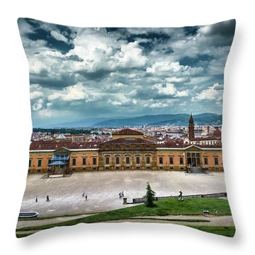 The Meridian Palace And Cityscape In Florence, Italy Throw Pillow