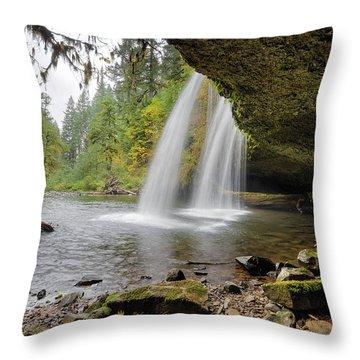 Under Upper Butte Creek Falls In Autumn Throw Pillow by David Gn