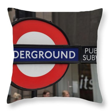 Underground Sign London Throw Pillow