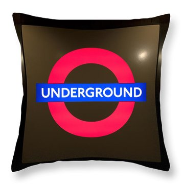 Underground Sign Throw Pillow by Svetlana Sewell