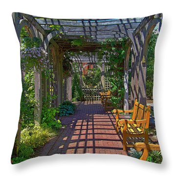 Underneath The Arbor Throw Pillow by Julie Grace