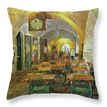Underneath The Arches - Street Cafe, Prague Throw Pillow