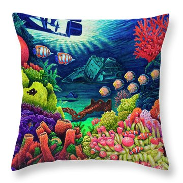 Undersea Creatures Vii Throw Pillow by Michael Frank