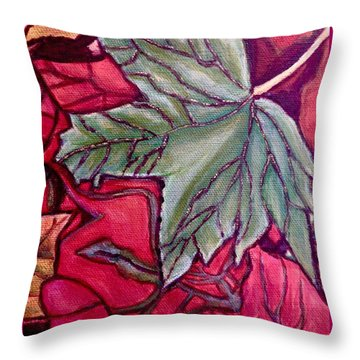 Throw Pillow featuring the painting Understudy Of A Fallen Green Maple Leaf In The Fall by Kimberlee Baxter