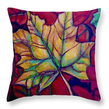 Throw Pillow featuring the painting Understudy Of A Turning Maple Leaf In The Fall by Kimberlee Baxter