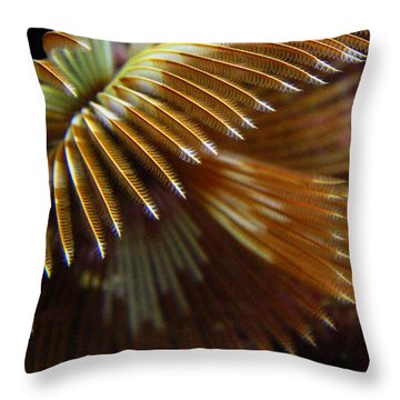 Underwater Feathers Throw Pillow