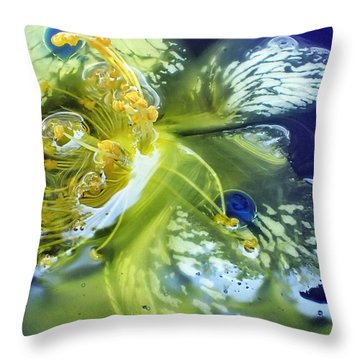 Underwater Flower Abstraction 2 Throw Pillow by Lorella Schoales
