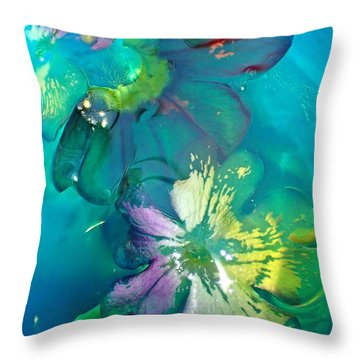 Underwater Flower Abstraction 3 Throw Pillow by Lorella Schoales