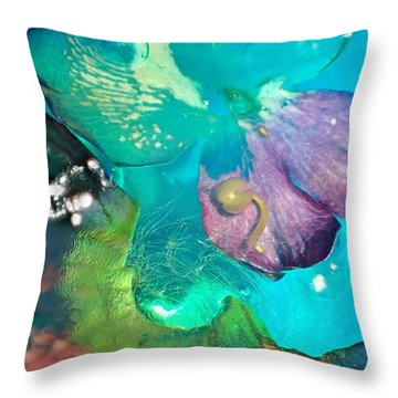 Underwater Flower Abstraction 4 Throw Pillow by Lorella Schoales