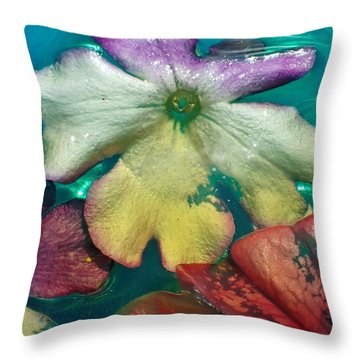 Underwater Flower Abstraction 5 Throw Pillow by Lorella Schoales