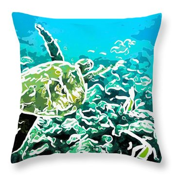 Underwater Landscape 1 Throw Pillow by Lanjee Chee