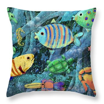 Underwater Maze Throw Pillow by Arline Wagner